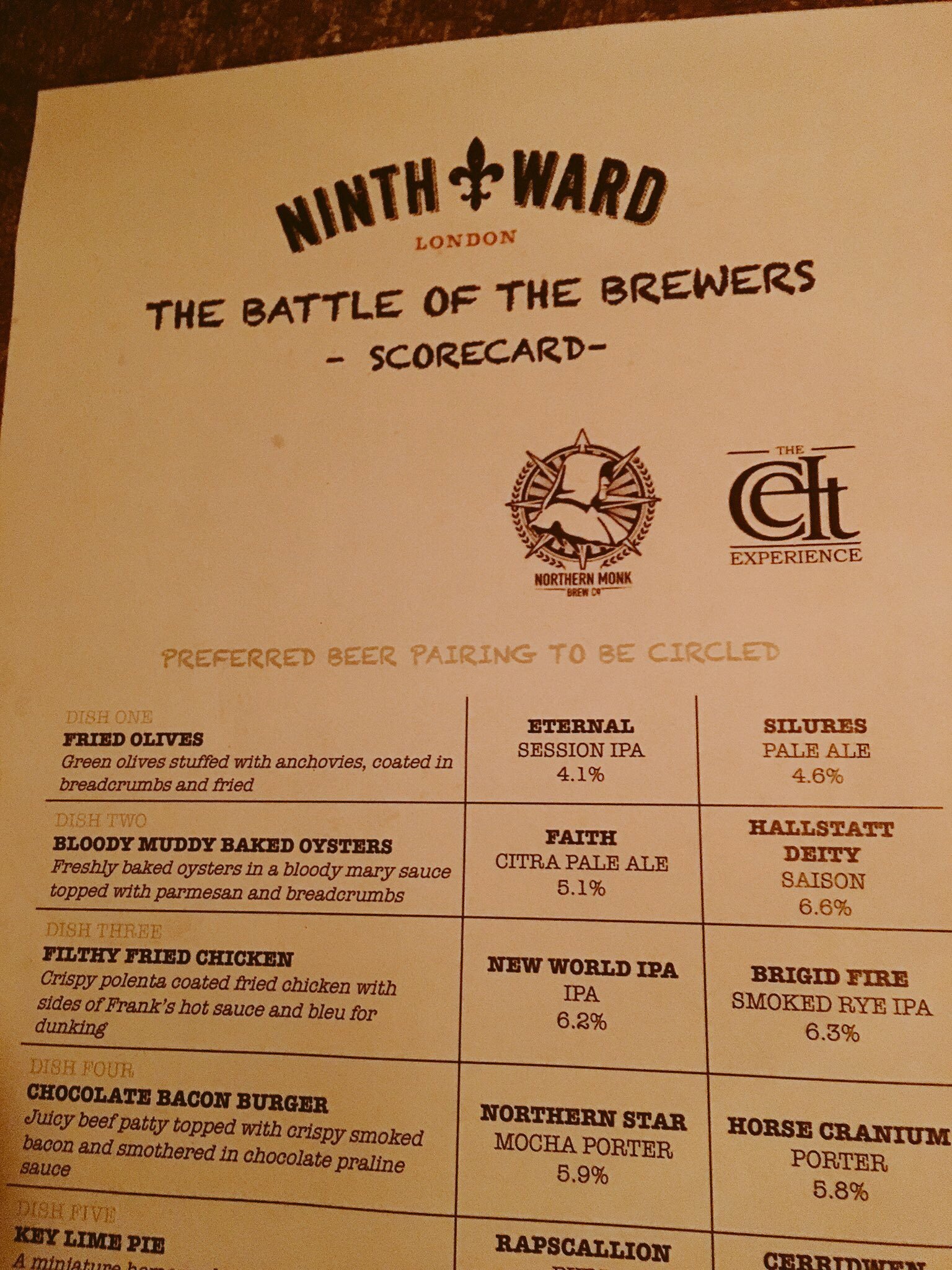 battle of the brewers  at ninth ward london celt experience northern monk